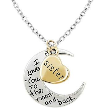 Gold Heart I Love You To The Moon and Back Pendant Necklace