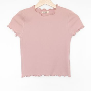 Lettuce Edge Crop Top - Mauve