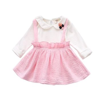 Cotton Baby Dress Long Sleeve Sweet 1 Year Birthday Dress Spring Autumn One-piece Newborn Girls Clothes Infant Princess Clothing