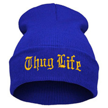 THUG LIFE Letter Embroidered Unisex Beanie Fashion 2pac Hip Hop Mens & Womens Knitted Blue & Gold Tupac Cuffed Skully Hat