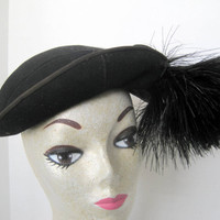 Black Wool Hat Half Feathery Art Deco Rolled Brim