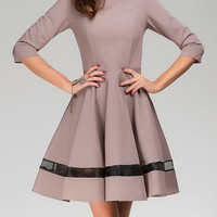Round Collar 3/4 Sleeve Spliced See-Through Dress