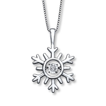 Diamonds in Rhythm Snowflake Necklace Sterling Silver
