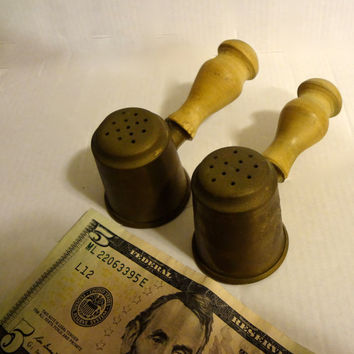 Vintage Brass Salt & Pepper Shakers With Wood Handles Has Patina Aging Wear
