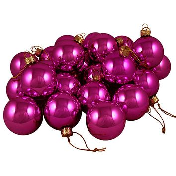 "Club Pack of 36 Shiny Fuchsia Candy Glass Ball Christmas Ornaments 2.75"" (67mm)"