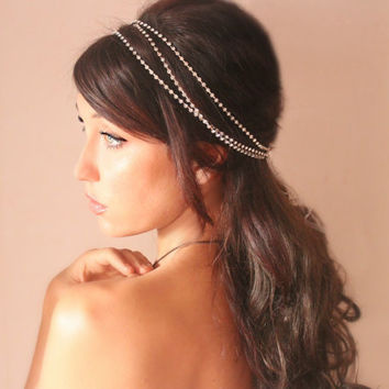 Rhinestone wrap Bridal headband tiara wedding headpiece by deLoop