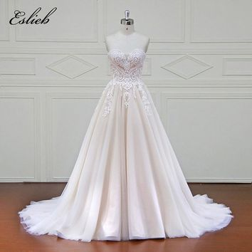 Eslieb 100% Real Photos Luxury Wedding Dresses Royal Train Lace Appliques Off the Shoulder Wedding Dress 2018 Vestido xfm042