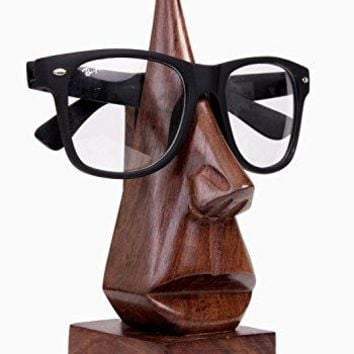 Classic Hand Carved Rosewood Nose Shaped Eyeglass Spectacle Holder Stand