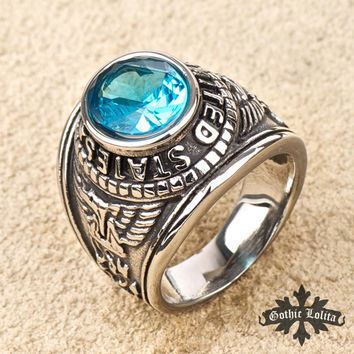 USA Marines Eagle ring retro Aquamarine men titanium ring ~ domineering personality