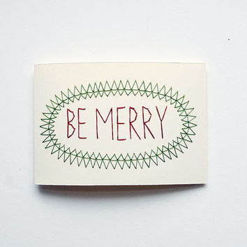 Card Set - BE MERRY - 6 Hand Stitched Blank Cards