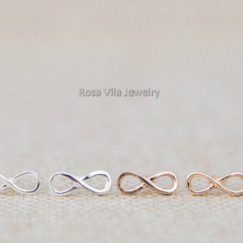 Infinity Earrings - Gold and Silver; cute and simple infinity stud earrings; minimalist studs; Tiny infinity