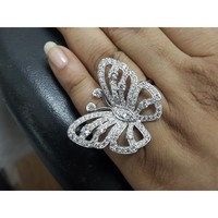 White Sapphire Butterfly Ring