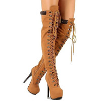 Polly-yh-2 Tan Suede Lace up Boot Platform Stiletto Heels
