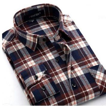 Plaid Shirt 2016 New Autumn Winter Flannel Red Checkered Shirt Men Shirts Long Sleeve Chemise Homme Cotton Male Check Shirts