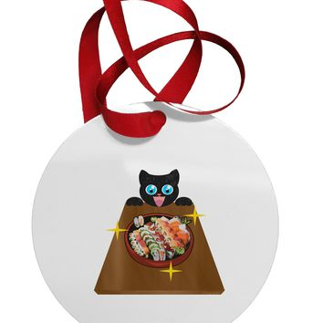 Anime Cat Loves Sushi Circular Metal Ornament by TooLoud