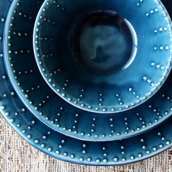 Dinnerware Set - Dinner Plate, Salad Plate, Soup Bowl - Deep Sea Blue - One Place Setting - Modern Handmade Dinnerware - Made to Order