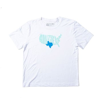 """Ain't Texas"" Men's Sweat-Wicking White Workout Shirt"