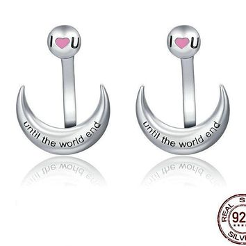 925 Sterling Silver I Love to You to the moon and Back Jacket Studs