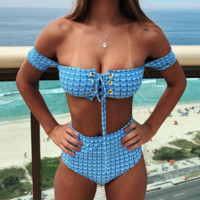 Summer New Fashion Fish Scale Print Strapless Two Piece Bikini Swimsuit Blue