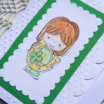 St. Patricks Day Card - Smile Message, Saint Patrick's Day, Handmade Greeting Card, Good Luck, Best Wishes