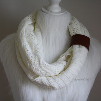 Cable Knit Infinity Scarf w/ leather cuff, Infinity Scarfs, Handknit Cable Knit Infinity Scarves Loop Scarves, Knit Scarf