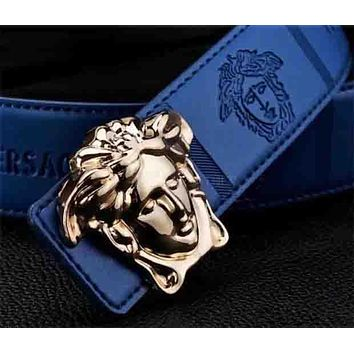 VERSACE Popular Unisex Smooth Buckle Belt Leather Belt Blue I