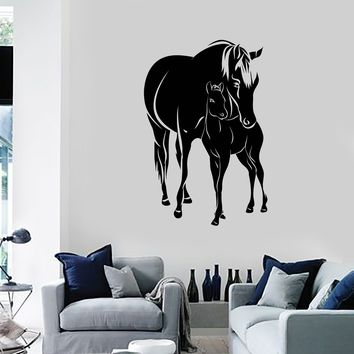 Vinyl Wall Decal Horses Foal Animals Living Room Home Decoration Art Stickers Mural (ig5568)