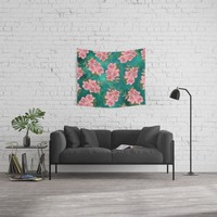 Pink Blossom On Teal Wall Tapestry by inspiredimages