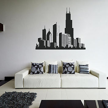 kik1171 Wall Decal Sticker Chicago American city children's bedroom living room