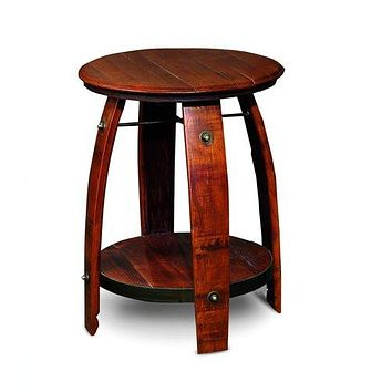 "Wine Barrel Side Table Reclaimed Wood Staves 24"" 2 Day Designs 819"