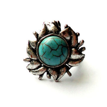 Vintage Faux Turquoise Ring - Adjustable Silver Tone Ring - Faux Turquoise Cabochon Ring - Silver Flower Ring -  Southwestern Style Ring