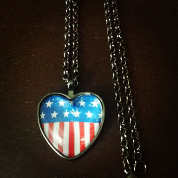 American flag red white and blue heart necklace