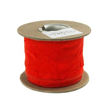 Crinkled Satin Silk Wired Edge Ribbon, 2-Inch, 9 Yards, Red