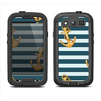 The Navy Striped with Gold Anchors Samsung Galaxy S3 LifeProof Fre Case Skin Set
