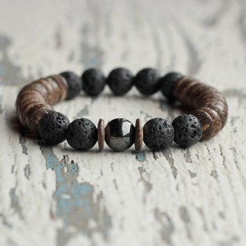 mens bracelet gift idea for men brother tribal bracelet black lava stone wood jewelry boyfriends gift christmas stretch bracelet mens beads