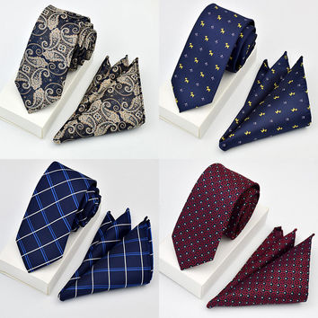 New Quality Tie Set For Men Tie Sets Dot Striped Neckties Hombre Slim Tie For Wedding Social Party