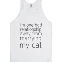 Marrying My Cat-Unisex White Tank