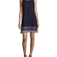 kate spade new york sleeveless embroidered linen-blend tassel dress, blue