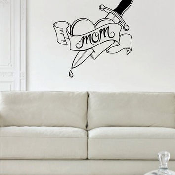 Heart Mom Tattoo Love Design Decal Sticker Wall Vinyl Decor Art