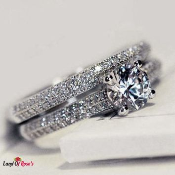 2pcs/Set Jewelry Luxury Silver Color Ring Romantic Engagement Ring
