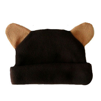 Baby Boys' Fleece Brown Bear Hat with Ears