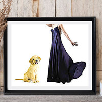 Golden retriever puppy Dog print Woman with dog Black long dress Modern wall decor Ready for print Dog lovers gift Dog poster print