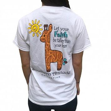Southern Attitude Preppy Giraffe Faith T-Shirt