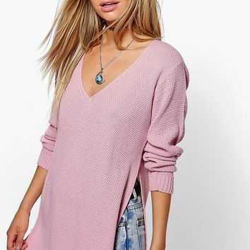 Emilia V Neck Side Split Tunic Jumper | Boohoo