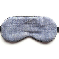 Sleep Mask Eye Shade Denim Chambray Blue Gray Night Cover Blindfold Men or Women