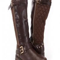 Brown Crinkle Faux Leather Mid-Calf Riding Boots