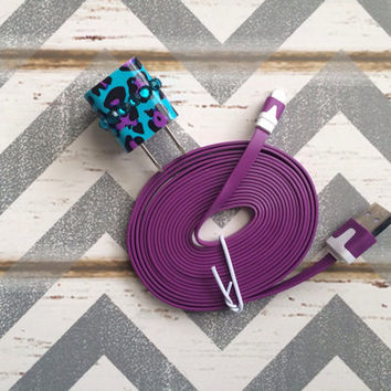 New Super Cute Jeweled Purple/Turquoise Blue Cheetah Print Designed USB Wall Connector + 10ft Flat Purple iPhone 5/5s/5c Cable Cord