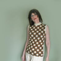 60s Vintage Knit Top - 1960s Mock Turtleneck - Talbott Travler Sleeveless Sweater