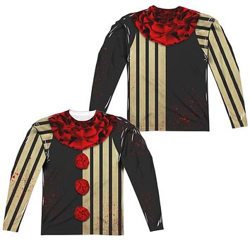 Creepy Clown Halloween Costume Long Sleeve T-shirt Front & Back