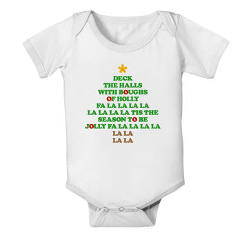 Deck the Halls Lyrics Christmas Tree Baby Romper Bodysuit